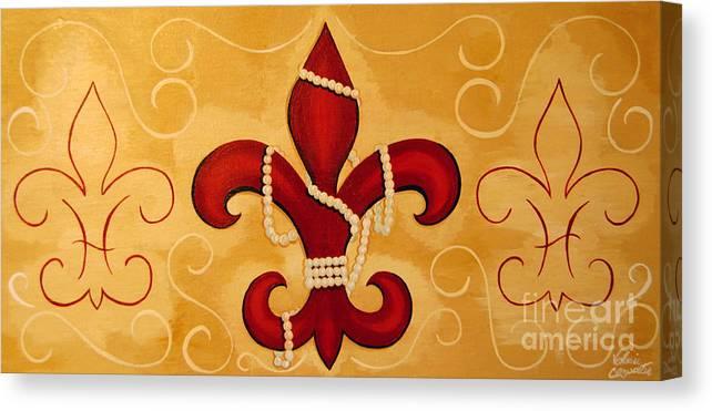 Fleur De Lis Canvas Print featuring the painting Heart Of New Orleans by Valerie Carpenter