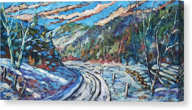 Loggers Canvas Print featuring the painting Loggers Road by Richard T Pranke