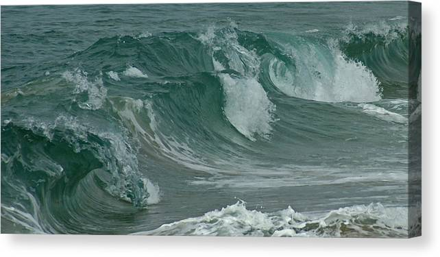 Ocean Canvas Print featuring the mixed media Ocean Waves 2 by Ernie Echols