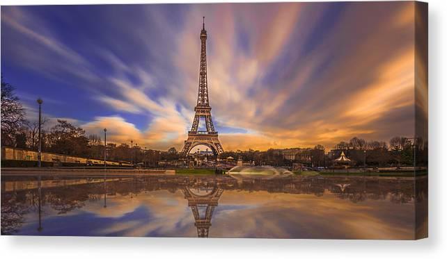 Canvas Print featuring the digital art Paris Reflections by Chris Locke