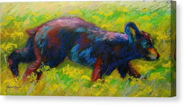 Western Canvas Print featuring the painting Running Free - Black Bear Cub by Marion Rose
