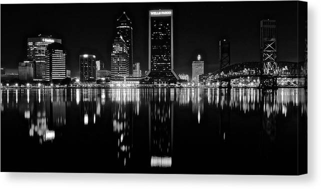 Jacksonville Canvas Print featuring the photograph Black Night Along The St John River by Frozen in Time Fine Art Photography