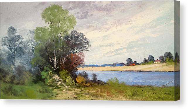 Pastel Canvas Print featuring the pastel Fox River 1909 by George Frederick Carl Waller