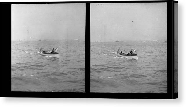 Motorboat Canvas Print featuring the photograph Unidentified Motorboat by The New York Historical Society