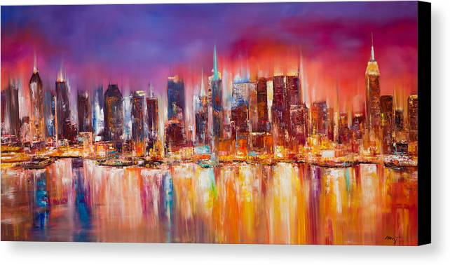 Nyc paintings canvas print featuring the painting vibrant new york city skyline by manit