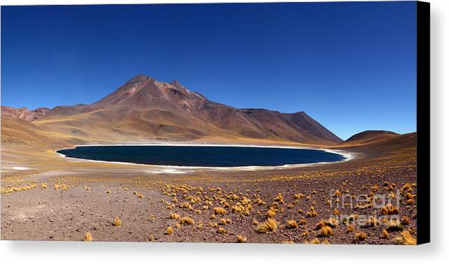 Chile Canvas Print featuring the photograph Laguna Miniques And Miniques Volcano Chile by James Brunker