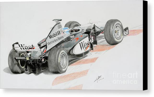 Mika Hakkinen Canvas Print featuring the drawing Hakkinen Victory In Luxembourg Gp 1998 by Lorenzo Benetton