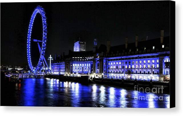 Blue Night In London Canvas Print featuring the photograph Blue Night In London by John Rizzuto
