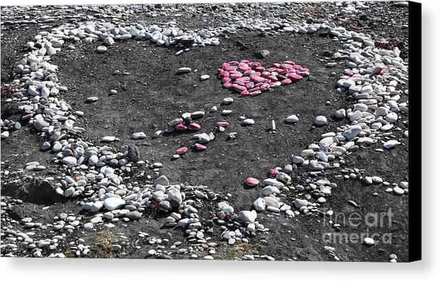 Double Heart On The Beach Canvas Print featuring the photograph Double Heart On The Beach by John Rizzuto