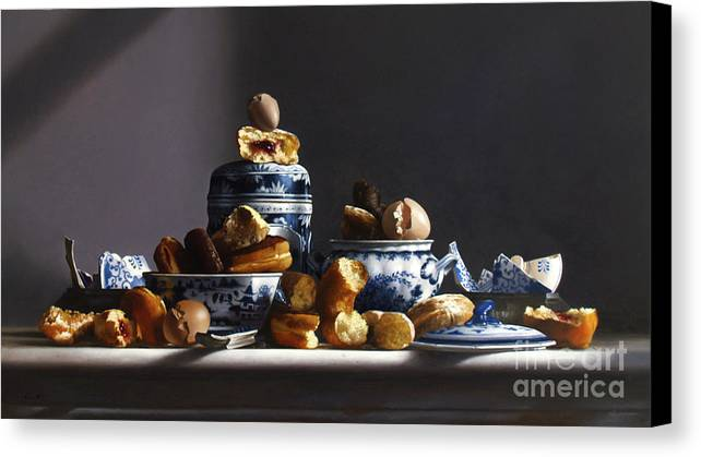 Donuts Canvas Print featuring the painting Canton With Donuts by Lawrence Preston