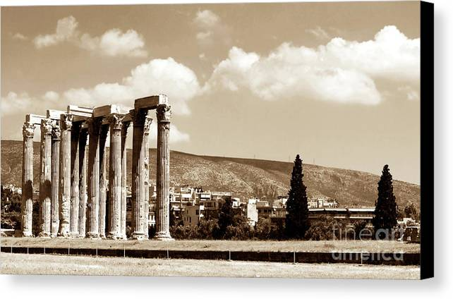 Temple Of Zeus Canvas Print featuring the photograph Temple Of Zeus by John Rizzuto