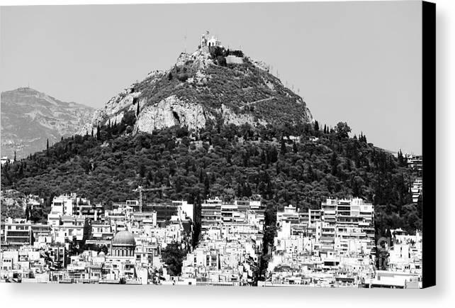 Mount Lykavittos Canvas Print featuring the photograph Mount Lykavittos by John Rizzuto