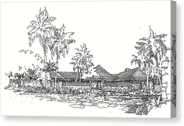 Architectual Image Canvas Print featuring the drawing Hilo House by Andrew Drozdowicz