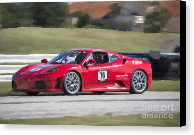 Automobile Canvas Print featuring the photograph 2007 Ferrari 430 At Sebring Raceway by Tad Gage