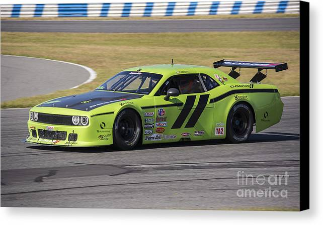 Automobile Canvas Print featuring the photograph Dodge Challenger At Daytona Speedway by Tad Gage
