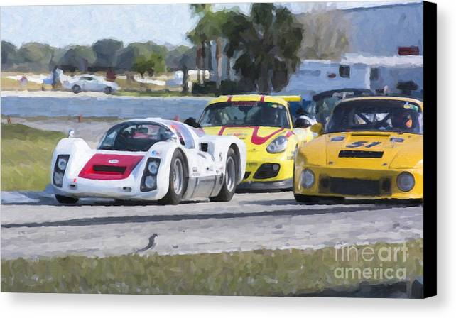 Automobile Canvas Print featuring the photograph Porsches In The Corner At Sebring Raceway by Tad Gage