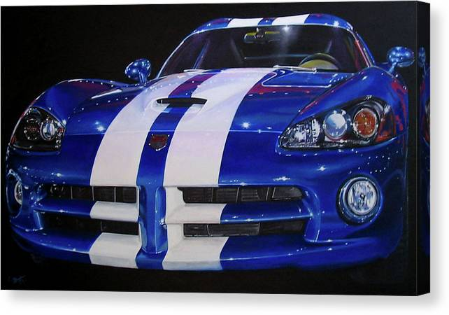 Car Canvas Print featuring the painting Snake Eyes by Lynn Masters