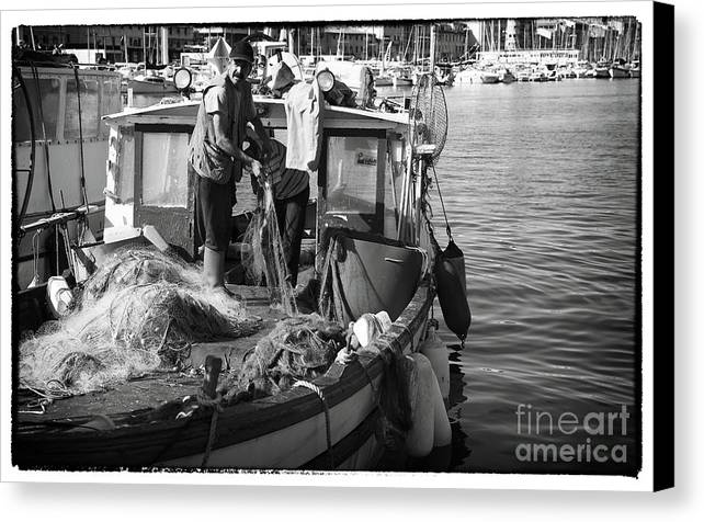Working The Nets Canvas Print featuring the photograph Working The Nets by John Rizzuto
