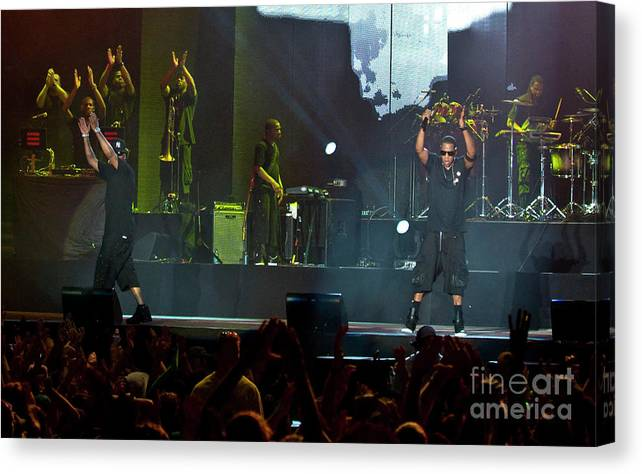 Bonnaroo; Bonnaroo Music Festival Canvas Print featuring the photograph Jay-z At Bonnaroo Music Festival by David Oppenheimer