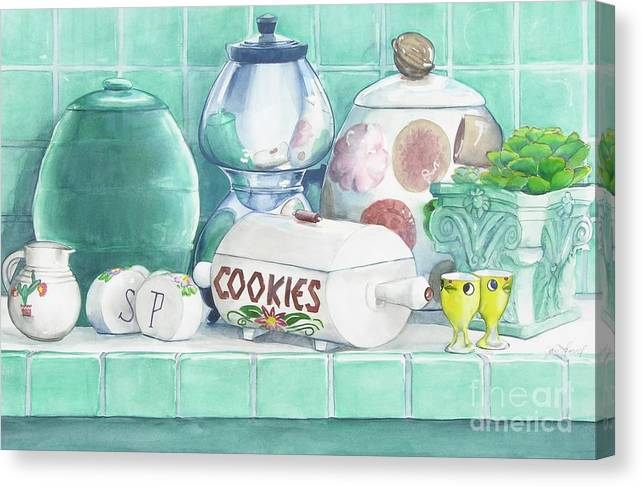Cookie Canvas Print featuring the painting Merceil Phyllis And Pat by Jane Loveall