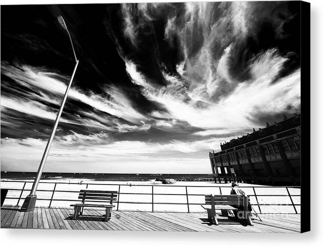 Asbury Park Canvas Print featuring the photograph Alone In Asbury Park by John Rizzuto