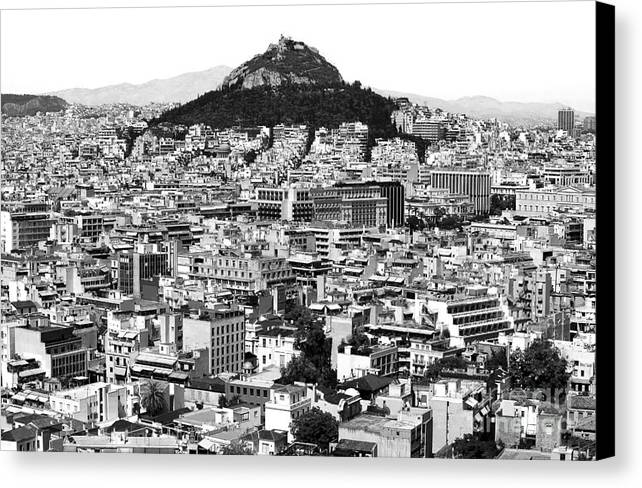 Athens City View Canvas Print featuring the photograph Athens City View In Black And White by John Rizzuto
