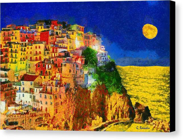 Rossidis Canvas Print featuring the painting Manarola By Night by George Rossidis