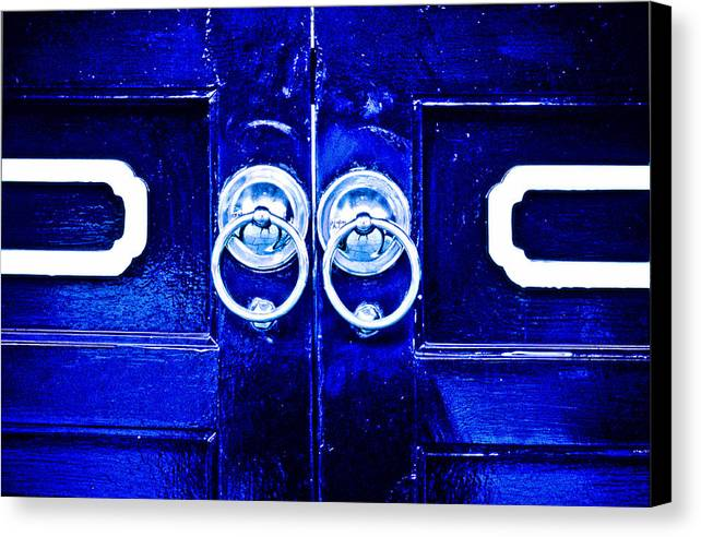 Temple Canvas Print featuring the photograph Blue Temple Doors by Joe Carini