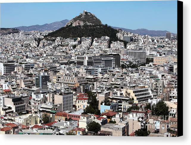 Athens City View Canvas Print featuring the photograph Athens City View by John Rizzuto