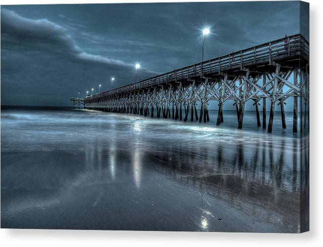 2nd Ave Pier Canvas Print featuring the photograph Nighttime At The Pier by At Lands End Photography