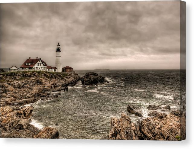 2x3 Canvas Print featuring the photograph Gloomy Day At The Portland Head Light by At Lands End Photography