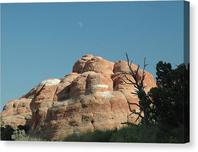 Arches National Park Canvas Print featuring the photograph Moonrise At Arches No. 1 by Karen Garvin