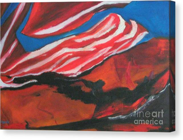Abstract Form Canvas Print featuring the painting Our Flag Their Oil by Patrick Mills