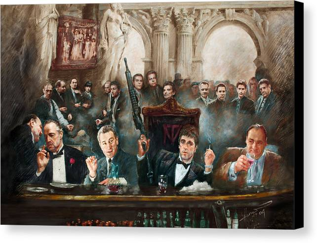 Gangsters Canvas Print featuring the mixed media Make Way For The Bad Guys Col by Ylli Haruni