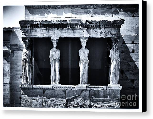 Porch Of The Caryatids Canvas Print featuring the photograph Porch Of The Caryatids by John Rizzuto