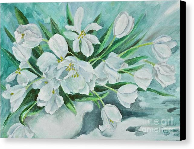 White Tulips Canvas Print featuring the painting White Tulips by Virginia Ann Hemingson