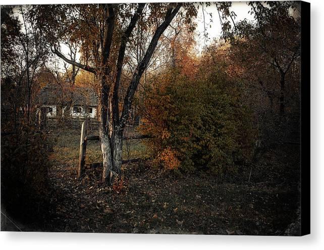 Nature. Landscape . View . Autumn . Village. Architecture. Ukrai Canvas Print featuring the photograph Pirogovo by Oleg Karataev