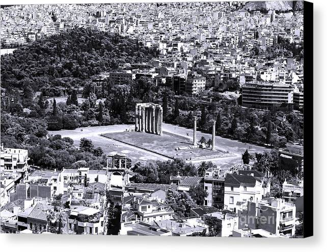 Athens Cityscape Iv Canvas Print featuring the photograph Athens Cityscape Iv by John Rizzuto