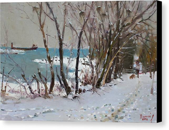 Lake Shore Mississauga Canvas Print featuring the painting Naked Trees By The Lake Shore by Ylli Haruni
