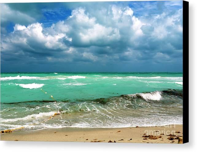 South Beach Storm Clouds Canvas Print featuring the photograph South Beach Storm Clouds by John Rizzuto