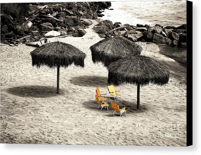 Tiki Huts Fusion Canvas Print featuring the photograph Tiki Huts Fusion by John Rizzuto