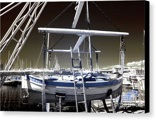 Working On The Boat Canvas Print featuring the photograph Working On The Boat by John Rizzuto