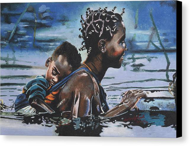 Black Art Canvas Print featuring the painting Young Mother And Child by Andre Ajibade