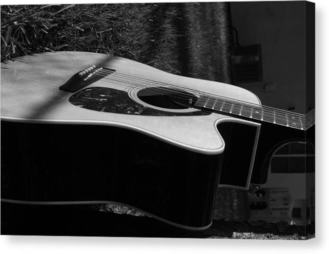 Guitar Canvas Print featuring the photograph Acoustic Guitar by Diego Salisbury