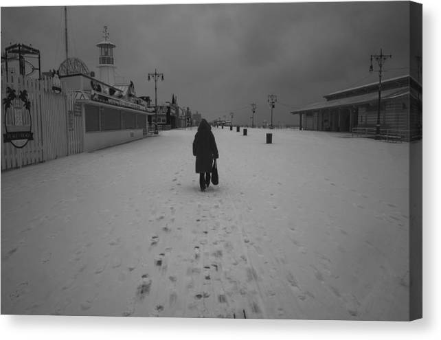 Coney Island Canvas Print featuring the photograph Coney Island Winter by Jammi York