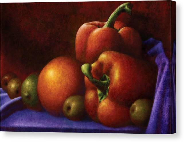 Food Canvas Print featuring the digital art Still Life With Peppers And Olives by Zev Robinson