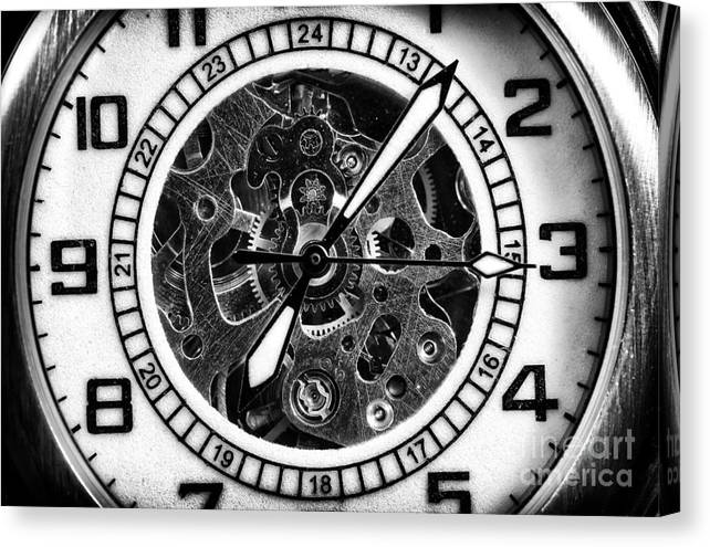 Watch Hands Canvas Print featuring the photograph Watch Hands by John Rizzuto