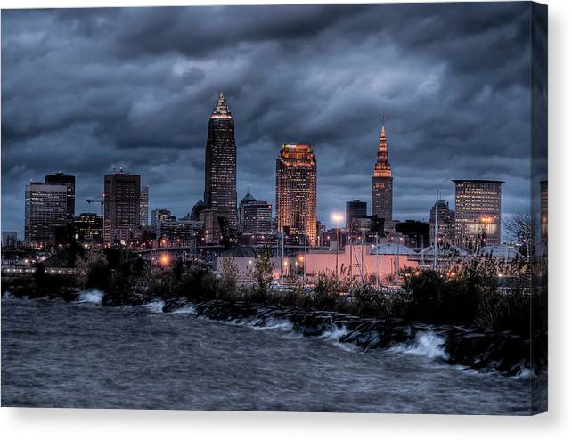 2x3 Canvas Print featuring the photograph Cleveland Skyline At Dusk From Edgewater Park by At Lands End Photography