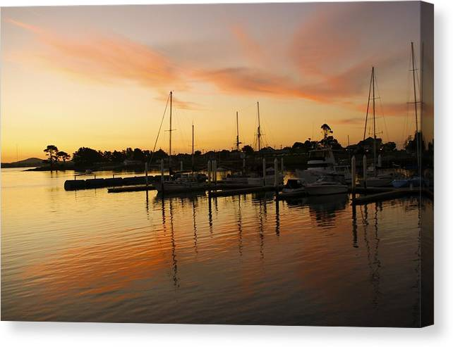 Sunset Canvas Print featuring the photograph Harbour Sun Set by Kathryn Potempski
