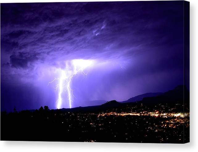 Monsoon Storm Cloudy Landscape Sedona Canvas Print featuring the photograph Monsoon Over Sedona by Heber Lopez